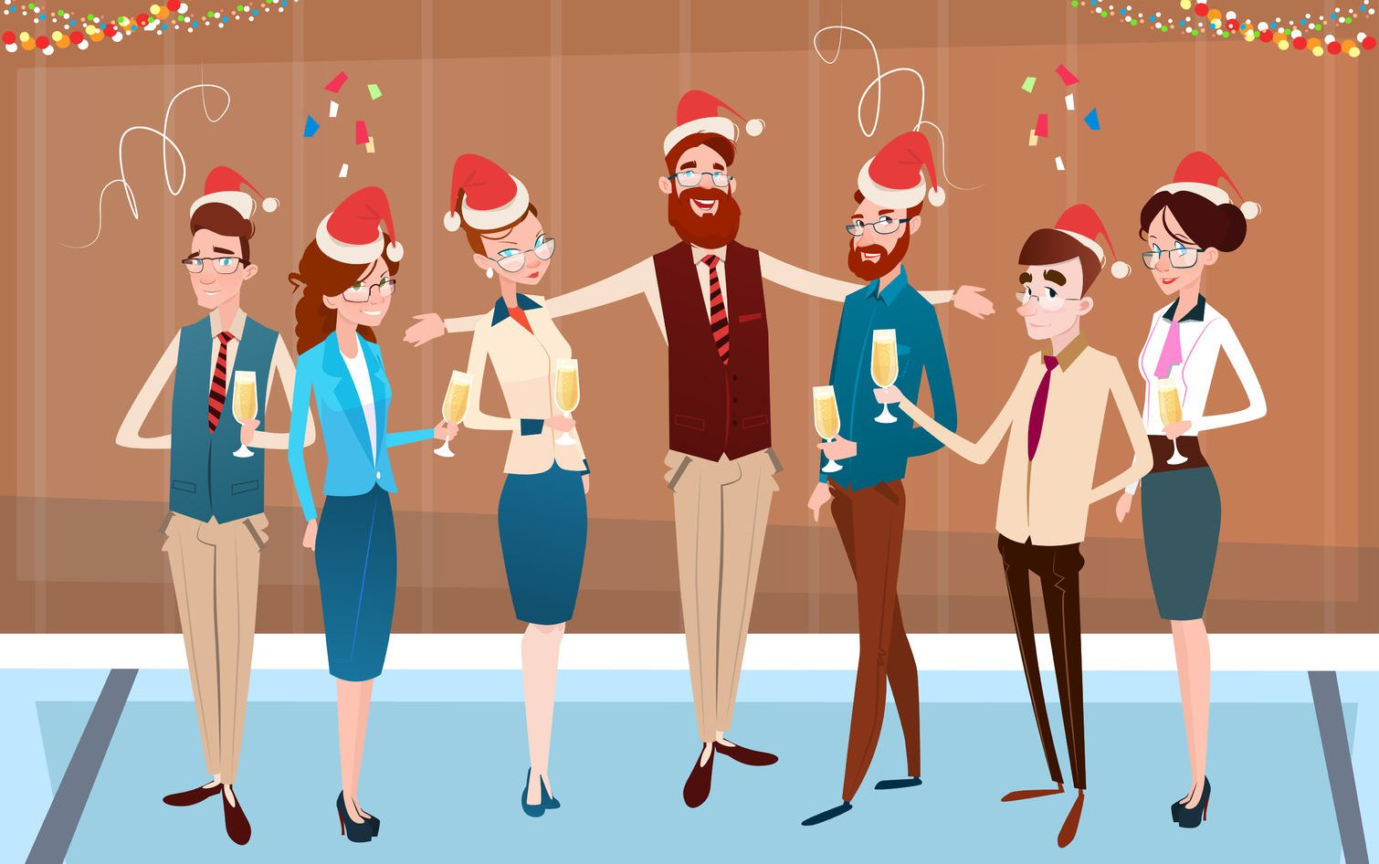 64242364 - businesspeople celebrate merry christmas and happy new year office business people team santa hat flat vector illustration