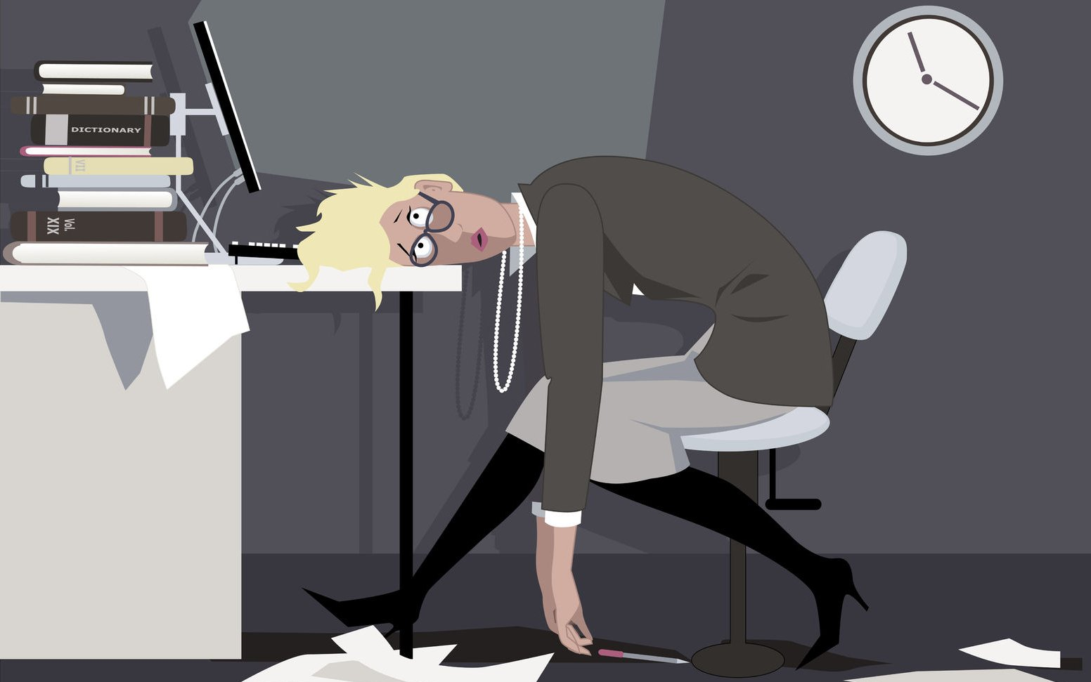 46795765 - exhausted woman sitting in the office late at night, putting her head on the desk, eps 8 vector illustration