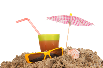 summer at the beach with lemonade and sunglasses