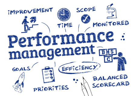 31959485 - performance management - chart with keywords and icons