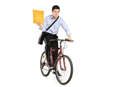 9239964 - mail man on a bicycle bringing mail isolated on white background