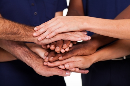 17781907 - multiracial hands together to form teamwork