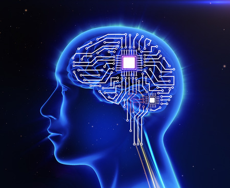 37652927 - computer circuit board in the form of the human brain