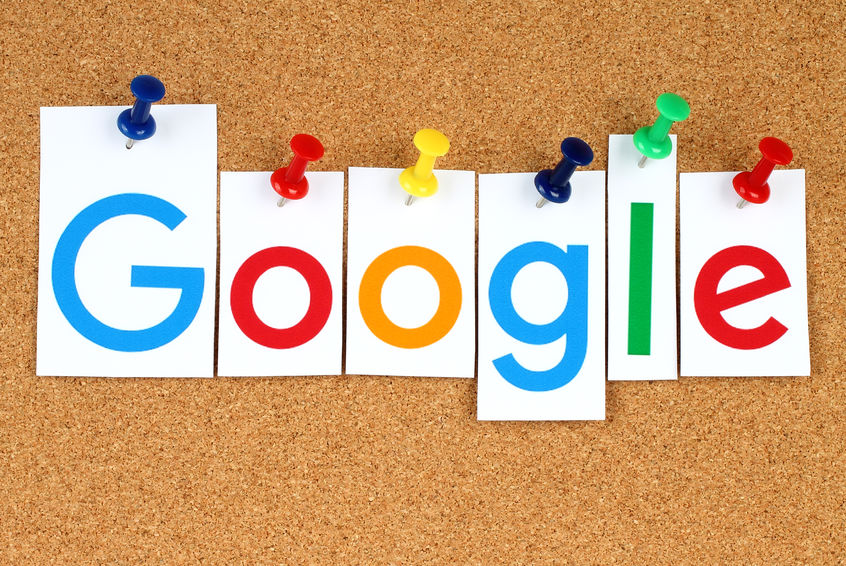 45701278 - kiev, ukraine - september 02, 2015:new google logotype printed on paper, cut and pinned on cork bulletin board.google is usa multinational corporation specializing in internet-related services.