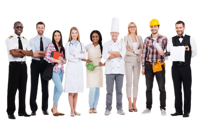 39249092 - choose your profession. group of diverse people in different occupations standing close to each other and against white background and smiling