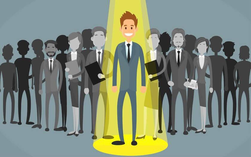 47576345 - businessman spotlight human resource recruitment candidate, business people hire concept flat vector illustration