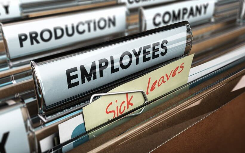 48137933 - close up on a file tab with the word employees plus a note with the text sick leaves, blur effect at the background. concept image for illustration of sick leave entilement.