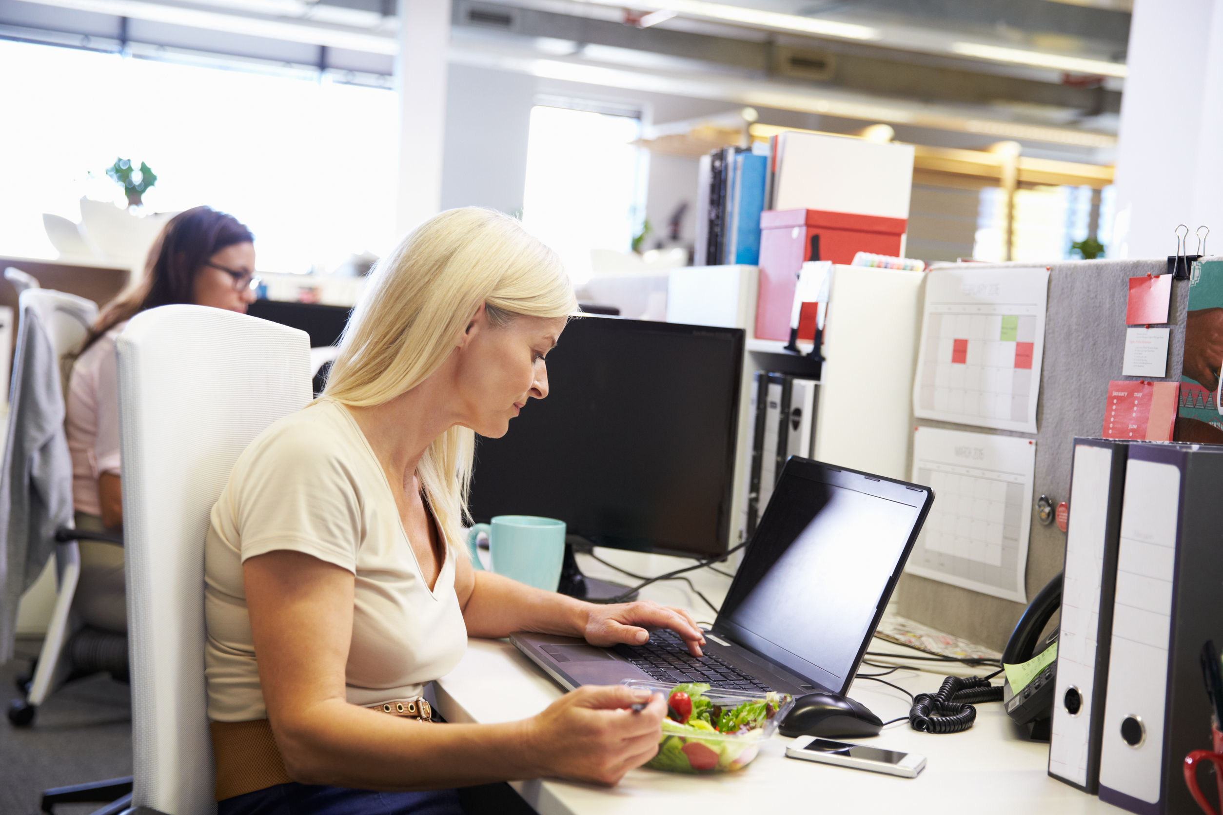 41402284 - a working woman eating lunch at her desk